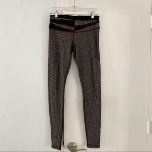 LULULEMON brown chevron print wool leggings 8